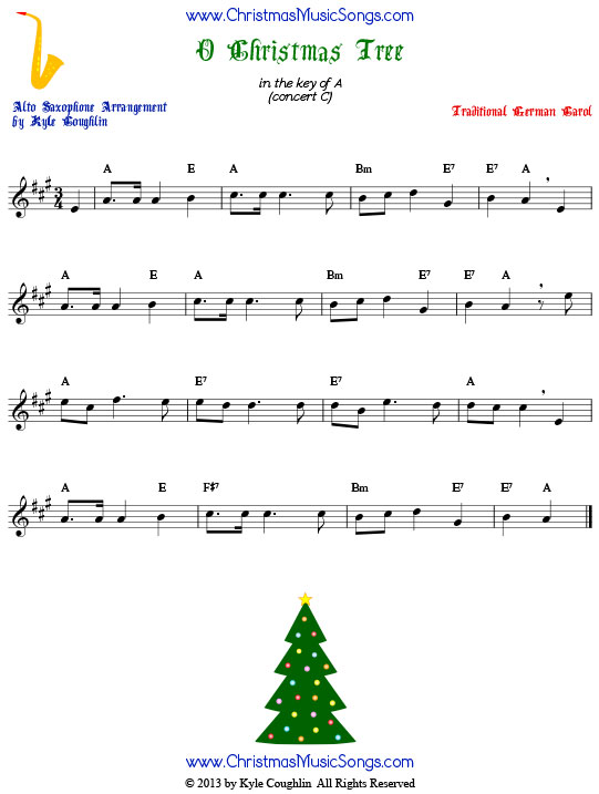 O Christmas Tree alto saxophone sheet music, arranged to play along with other wind, brass, and string instruments.
