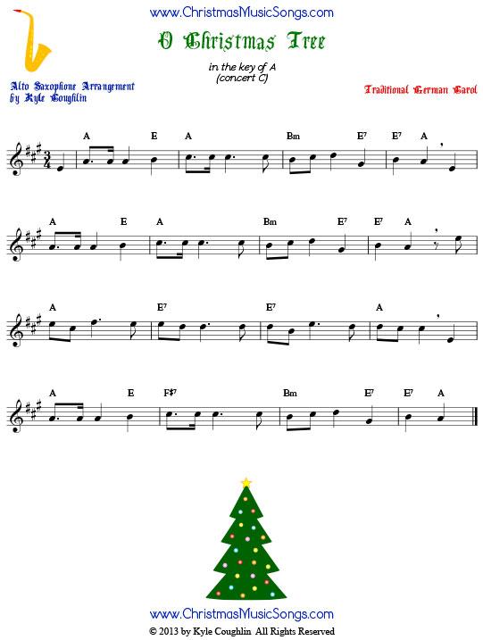 O Christmas Tree For Alto Sax Free Sheet Music