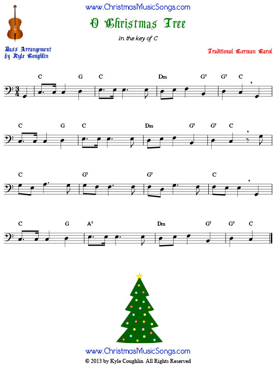 O Christmas Tree for string bass, arranged to play along with strings, woodwinds, and brass.