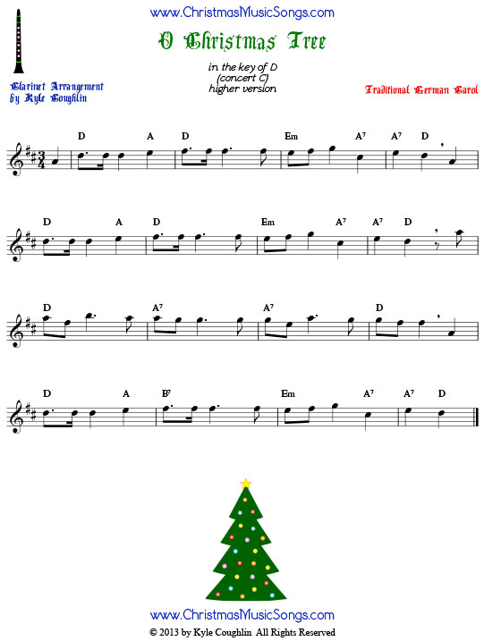 O Christmas Tree sheet music in the upper register, arranged for clarinet to play along with other wind, brass, and string instruments.
