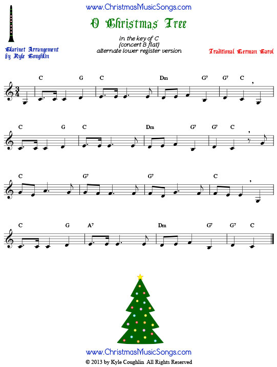 O Christmas Tree sheet music, arranged for clarinet in the lower register.