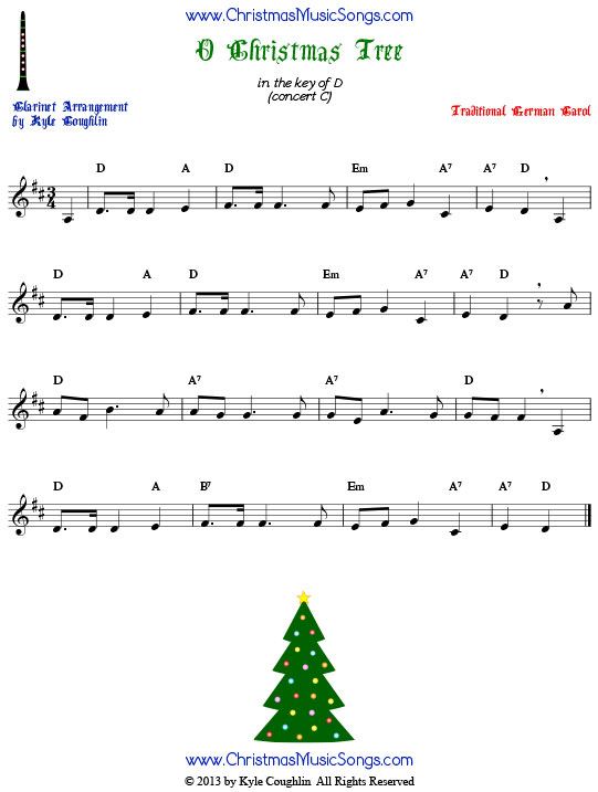 O Christmas Tree clarinet sheet music, arranged to play along with other wind, brass, and string instruments.
