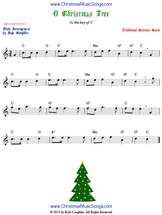O Christmas Tree flute sheet music, arranged to play along with other wind, brass, and string instruments.