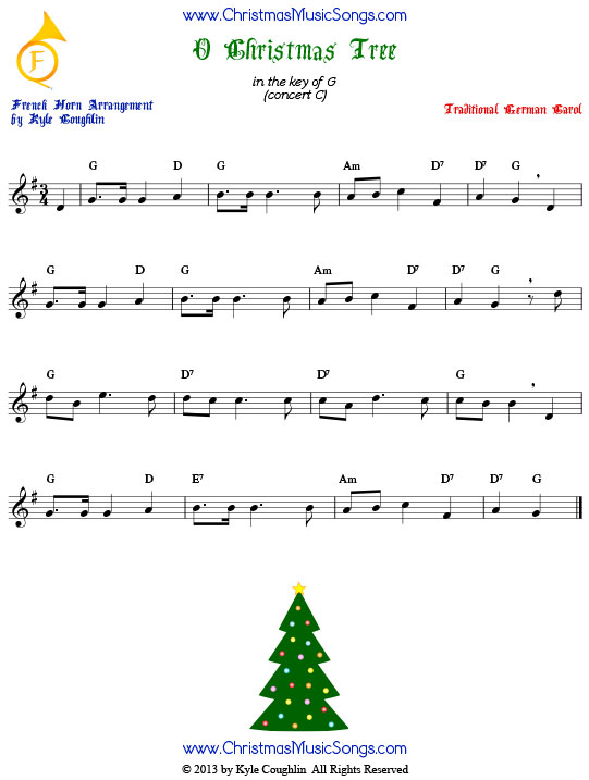 O Christmas Tree French horn sheet music, arranged to play along with other wind, brass, and string instruments.