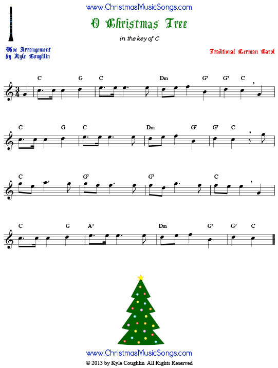 O Christmas Tree oboe sheet music, arranged to play along with other wind, brass, and string instruments.