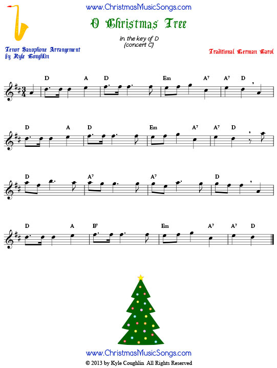 O Christmas Tree tenor saxophone sheet music, arranged to play along with other wind, brass, and string instruments.