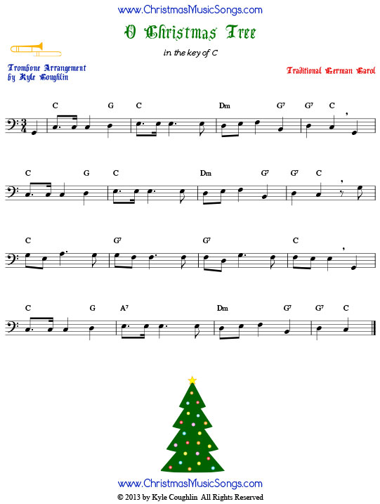 O Christmas Tree trombone sheet music, arranged to play along with other wind, brass, and string instruments.