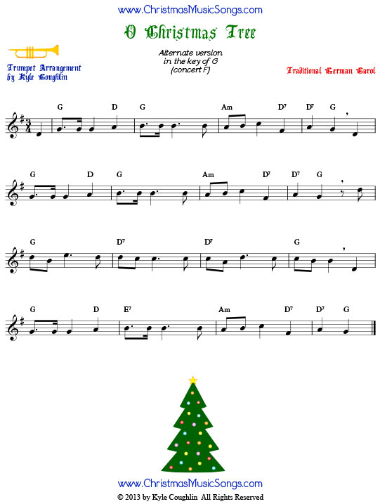 O Christmas Tree trumpet sheet music, in the key of G.