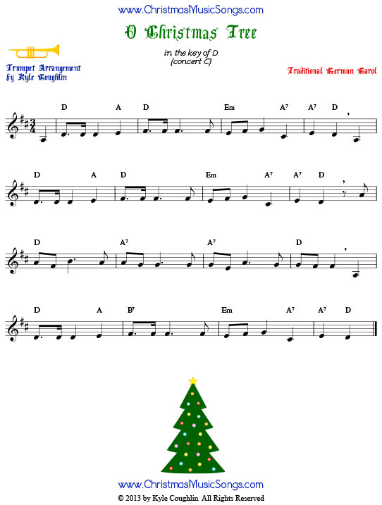 O Christmas Tree trumpet sheet music, arranged to play along with other wind, brass, and string instruments.
