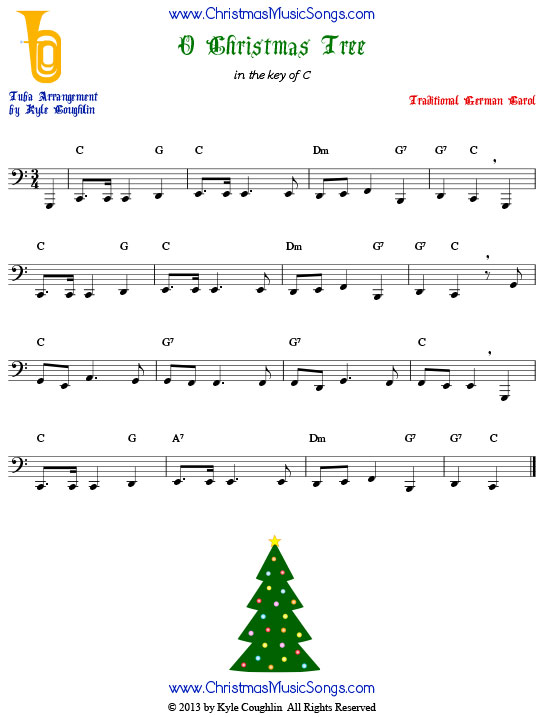 O Christmas Tree tuba sheet music, arranged to play along with other wind, brass, and string instruments.