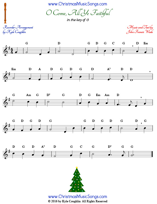 The Christmas carol O Come All Ye Faithful for recorder in the key of G.
