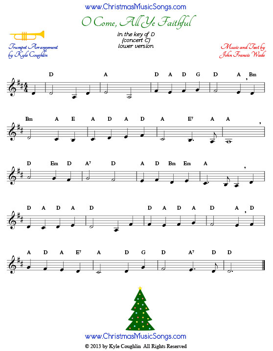 O Come All Ye Faithful For Trumpet Free Sheet Music