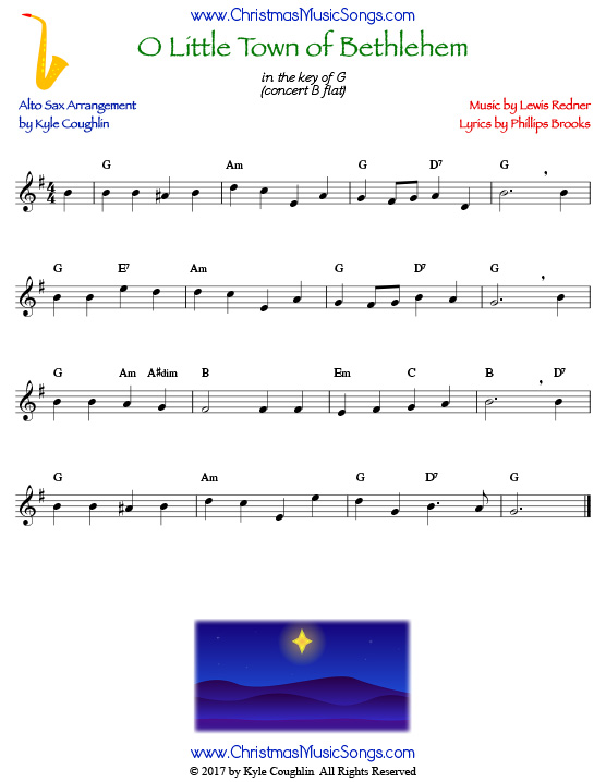 O Little Town of Bethlehem alto saxophone sheet music, arranged to play along with other wind, brass, and string instruments.