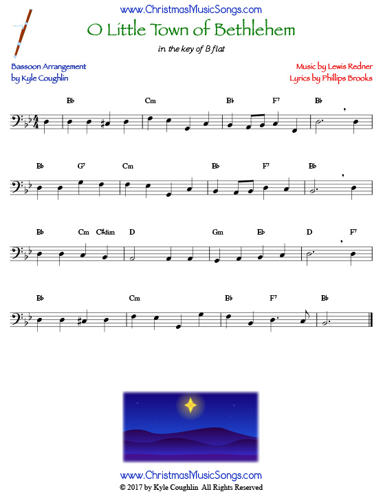 O Little Town of Bethlehem bassoon sheet music, arranged to play along with other wind and brass instruments.