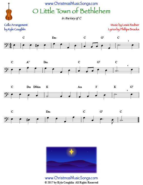 O Little Town of Bethlehem for cello, arranged to play along with strings, woodwinds, and brass.