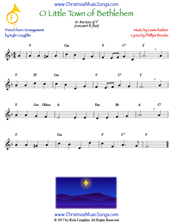 O Little Town of Bethlehem French horn sheet music, arranged to play along with other wind and brass instruments.