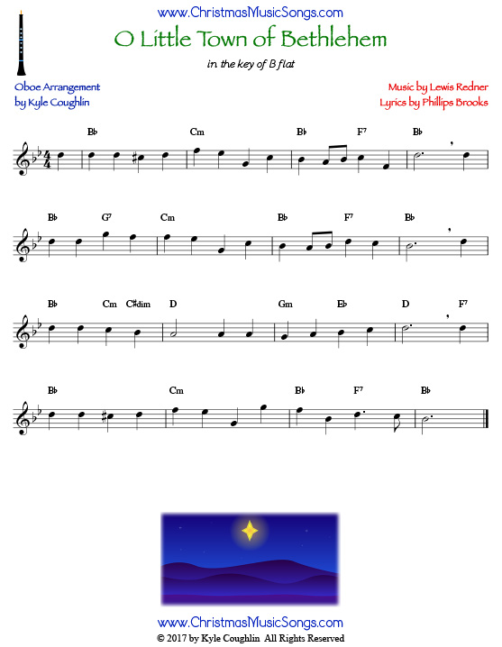 O Little Town of Bethlehem oboe sheet music, arranged to play along with other wind and brass instruments.