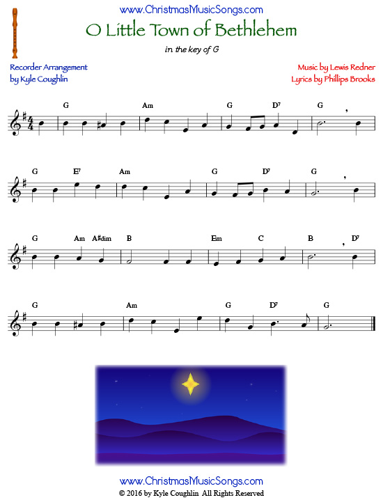The Christmas carol O Little Town of Bethlehem for recorder in the key of G.