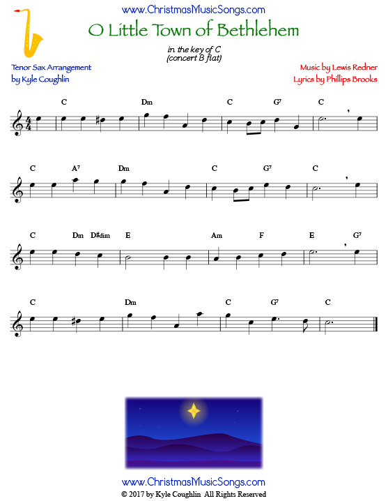 O Little Town of Bethlehem tenor saxophone sheet music, arranged to play along with other wind and brass instruments.