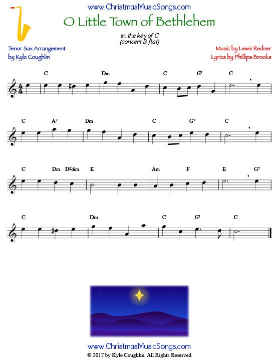 O Little Town of Bethlehem for tenor Saxophone - free sheet