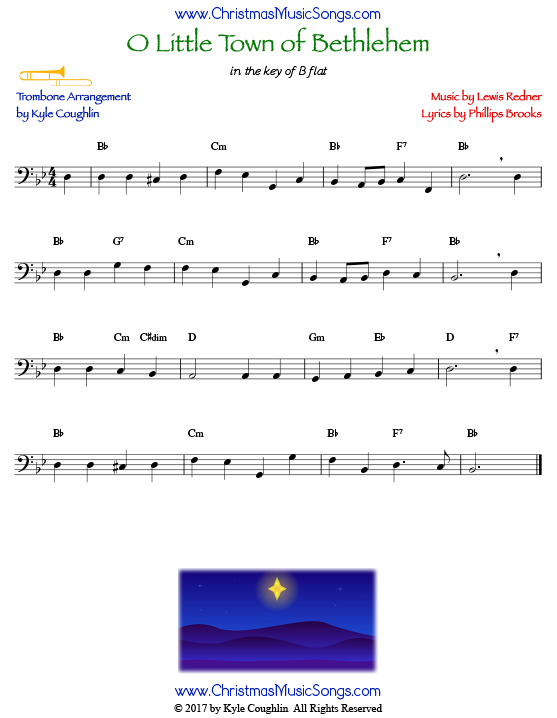 O Little Town of Bethlehem trombone sheet music, arranged to play along with other wind and brass instruments.