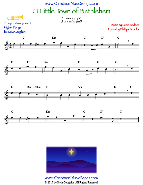 O Little Town of Bethlehem trumpet sheet music in a higher range, arranged to play along with other wind and brass instruments.