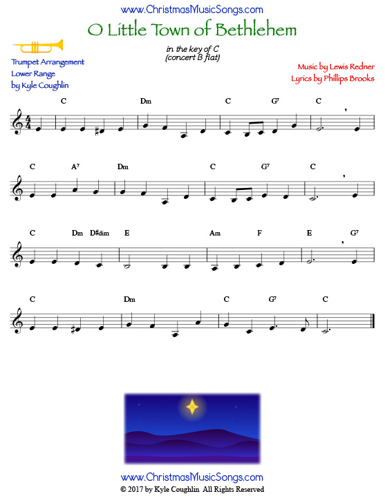 O Little Town of Bethlehem trumpet sheet music in a lower range, arranged to play along with other wind and brass instruments.
