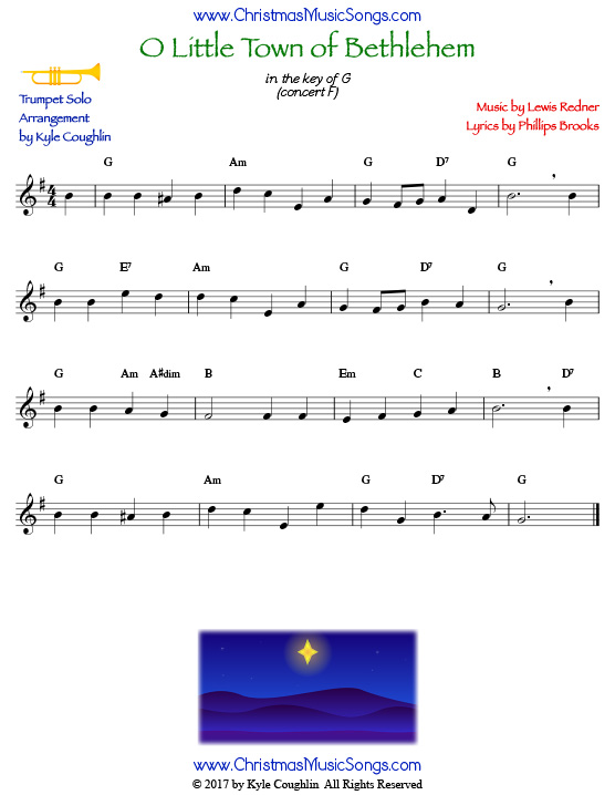 O Little Town of Bethlehem for trumpet solo