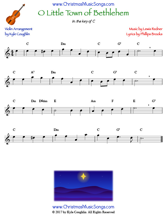 O Little Town of Bethlehem for violin, arranged to play along with strings, woodwinds, and brass.