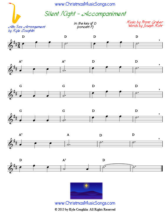 Silent Night accompaniment for alto saxophone