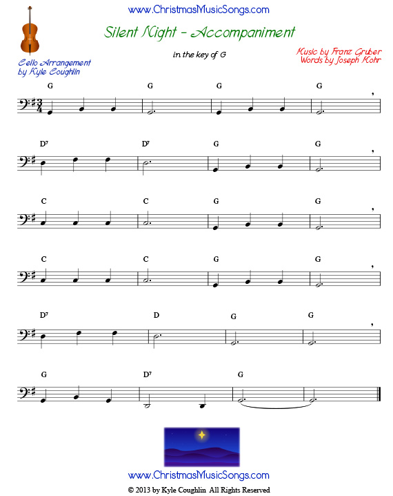 Cello accompaniment for Silent Night, in the key of G