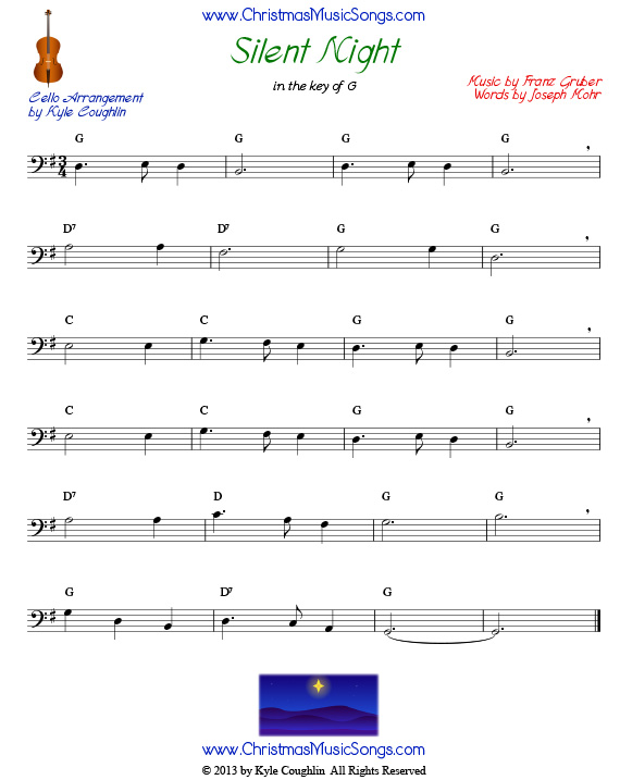 Silent Night for cello, in the key of G