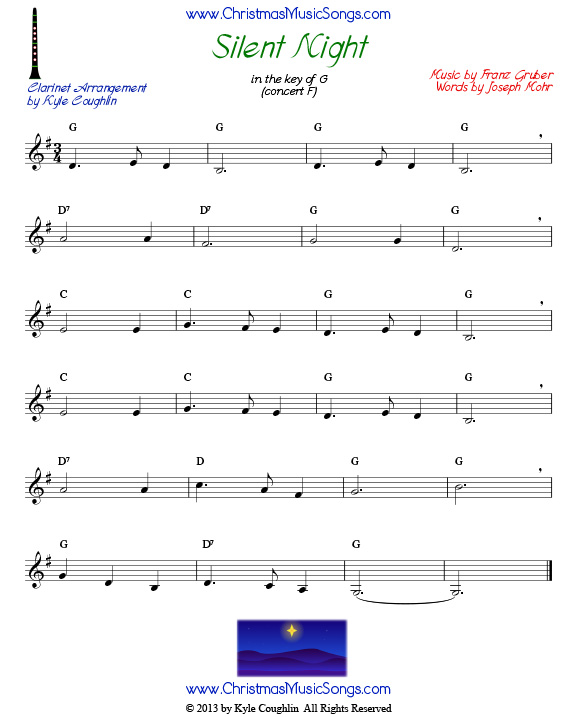 graphic relating to Free Printable Clarinet Sheet Music referred to as Quiet Night time for Clarinet - Free of charge Sheet Songs