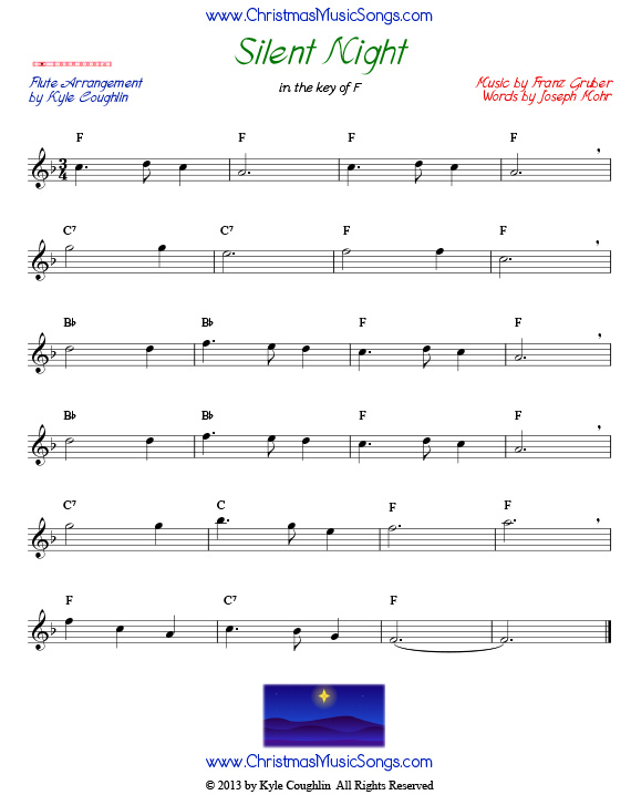 graphic relating to Free Printable Flute Sheet Music identified as Peaceful Night time for Flute - Totally free Sheet Audio