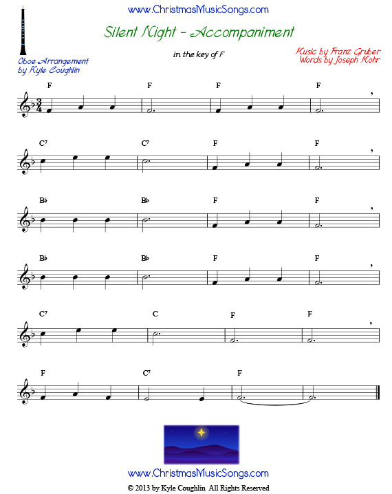 Silent Night accompaniment for oboe