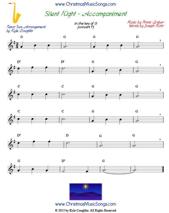 Silent Night accompaniment for tenor saxophone