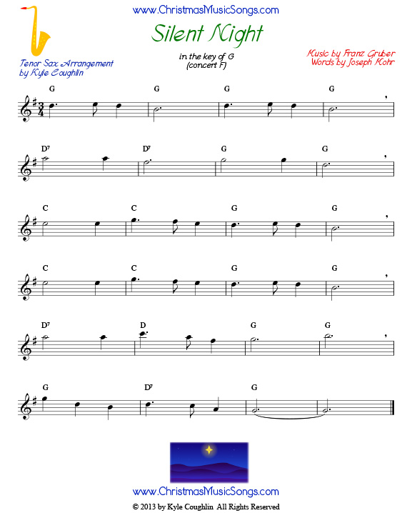 Silent Night sheet music for tenor saxophone