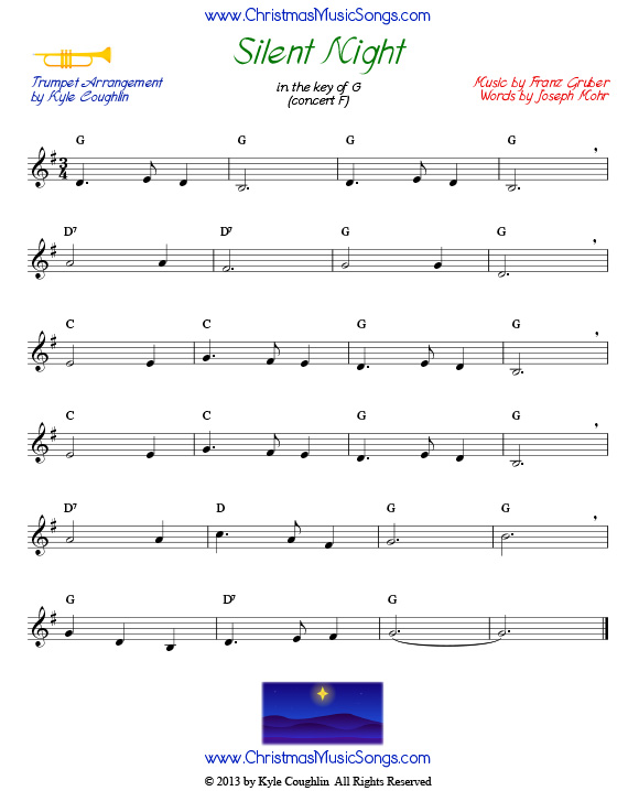 photo regarding Free Printable Sheet Music for Trumpet named Tranquil Night time for trumpet - free of charge sheet audio