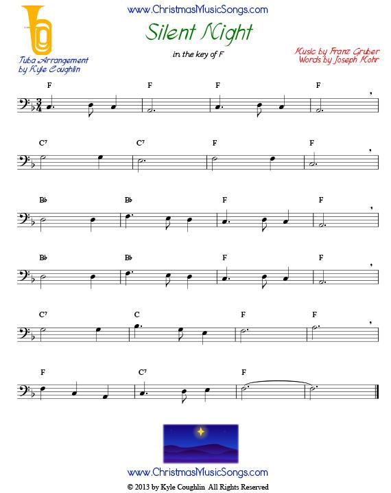 Silent Night for tuba - free sheet music
