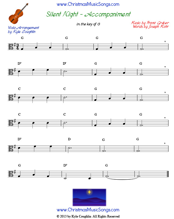 Silent Night accompaniment for viola, in the key of G