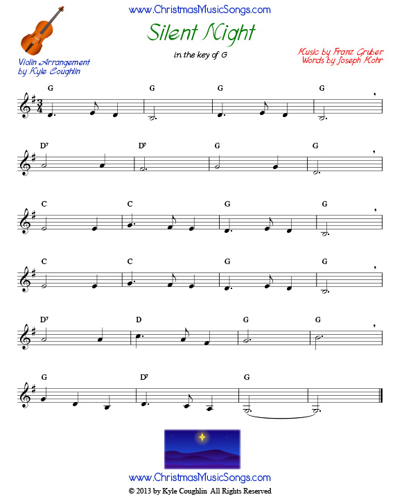 Silent Night free sheet music for violin