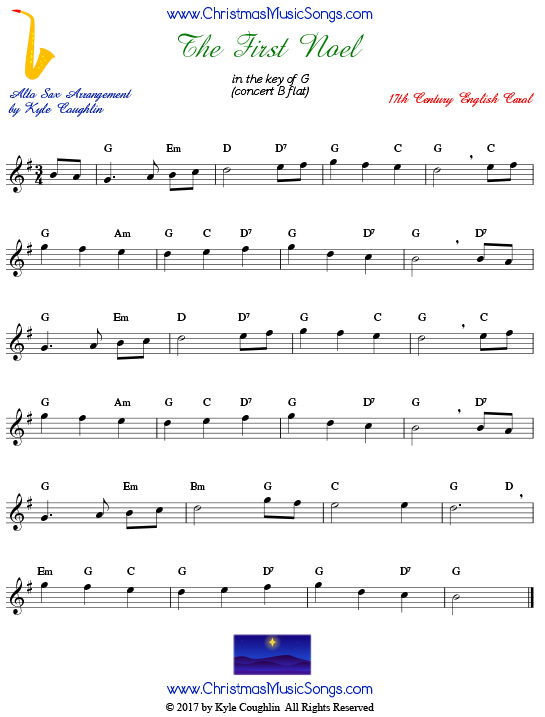 The First Noel alto saxophone sheet music, arranged to play along with other wind, brass, and string instruments.