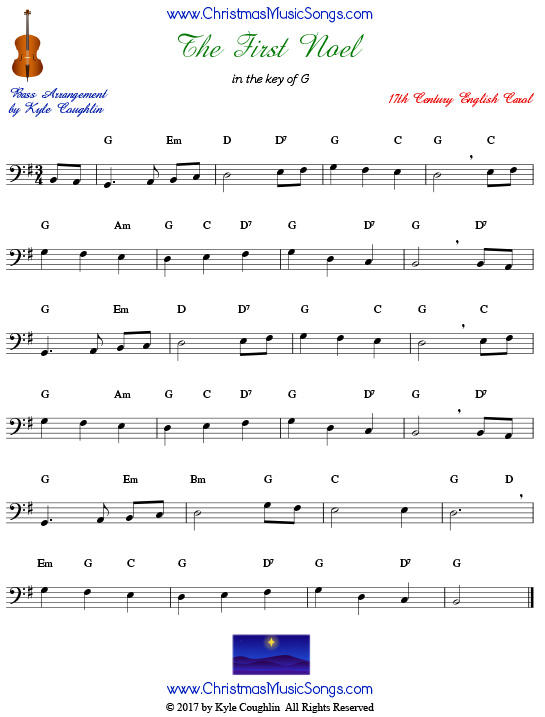 The First Noel for bass, arranged to play along with strings, woodwinds, and brass.