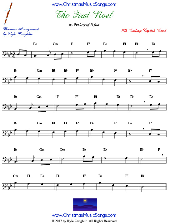 The First Noel bassoon sheet music, arranged to play along with other wind, brass, and string instruments.
