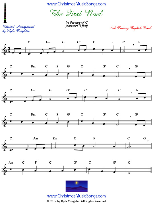 The First Noel clarinet sheet music, arranged to play along with other wind, brass, and string instruments.