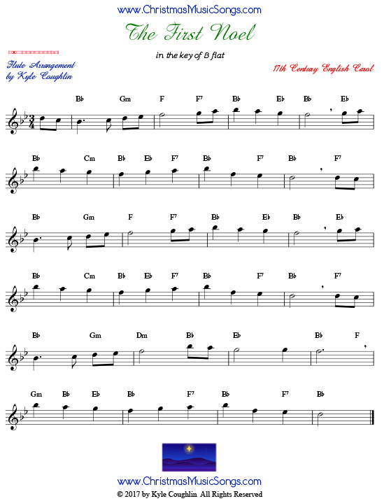 The First Noel flute sheet music, arranged to play along with other wind, brass, and string instruments.
