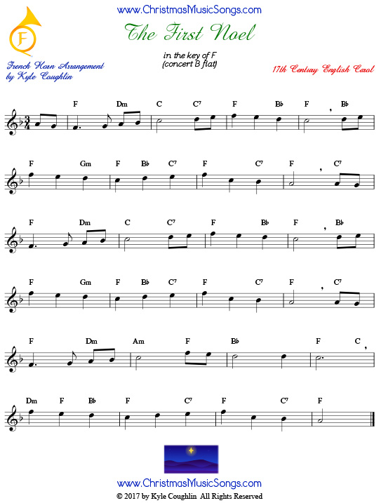 The First Noel French horn sheet music, arranged to play along with other wind, brass, and string instruments.