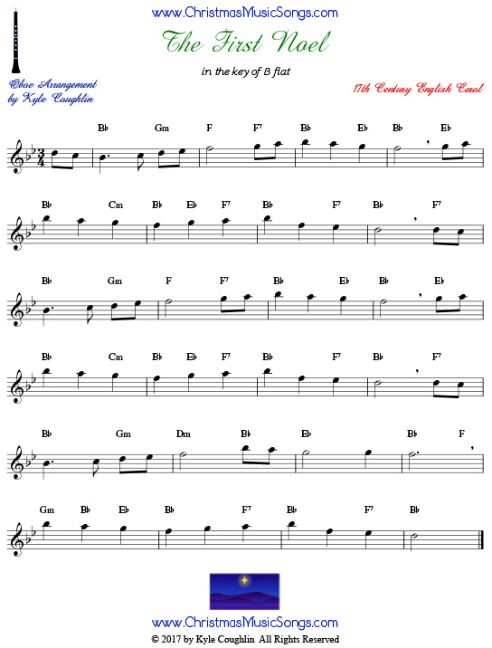 The First Noel oboe sheet music, arranged to play along with other wind, brass, and string instruments.