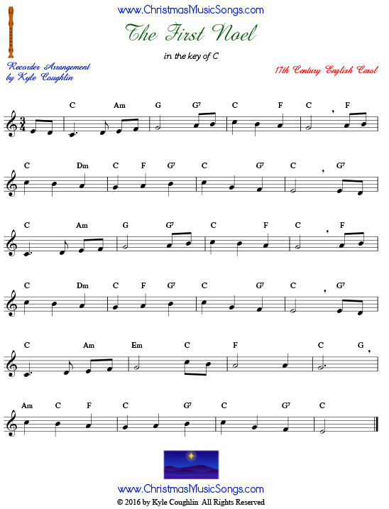 The First Noel For Recorder Free Sheet Music