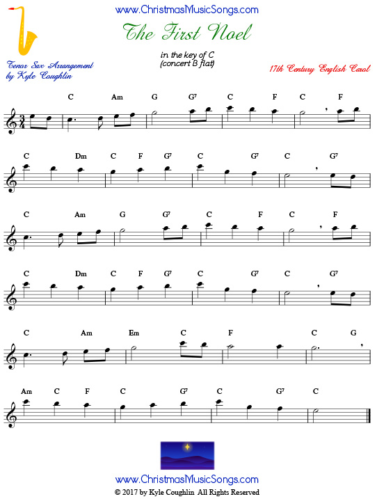 The First Noel tenor saxophone sheet music, arranged to play along with other wind, brass, and string instruments.